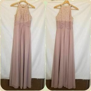 Eliza J Evening Gown Pink Ruched Maxi HalterLace